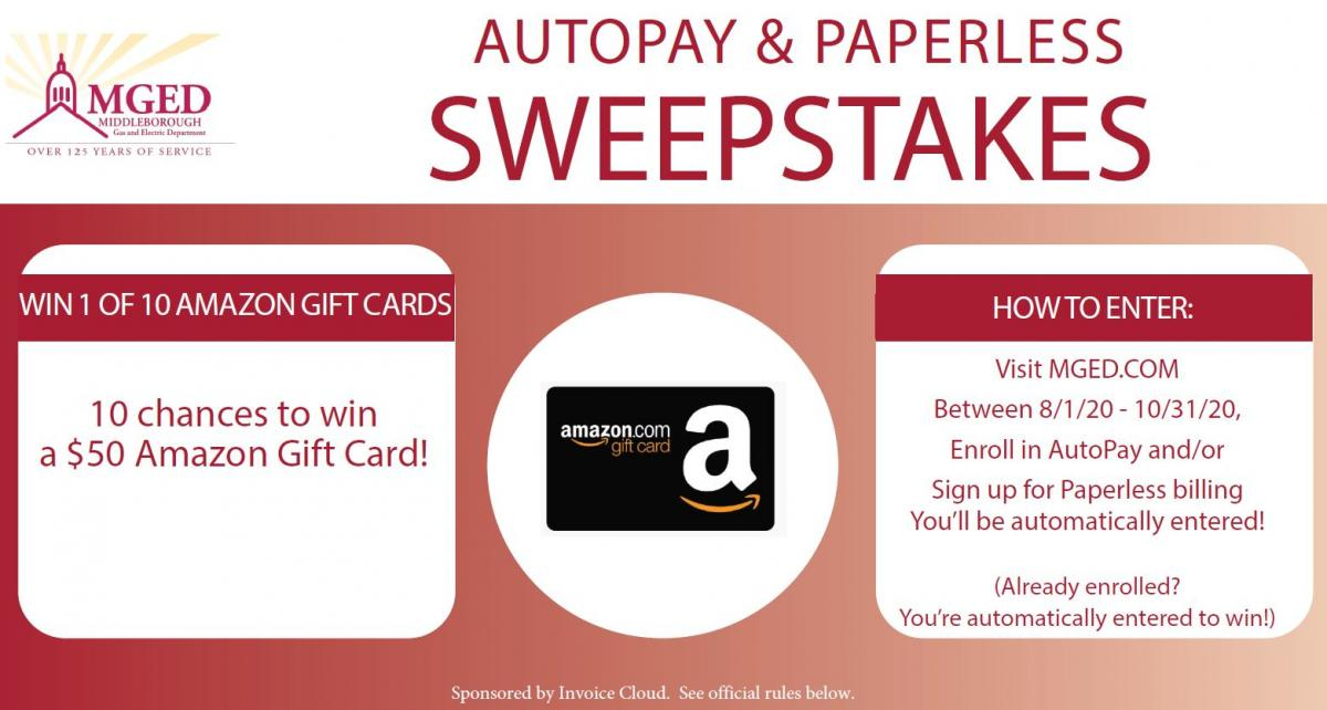 Paperless Billing Sweepstakes announcement